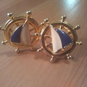 Avon Sailboat clip on earrings
